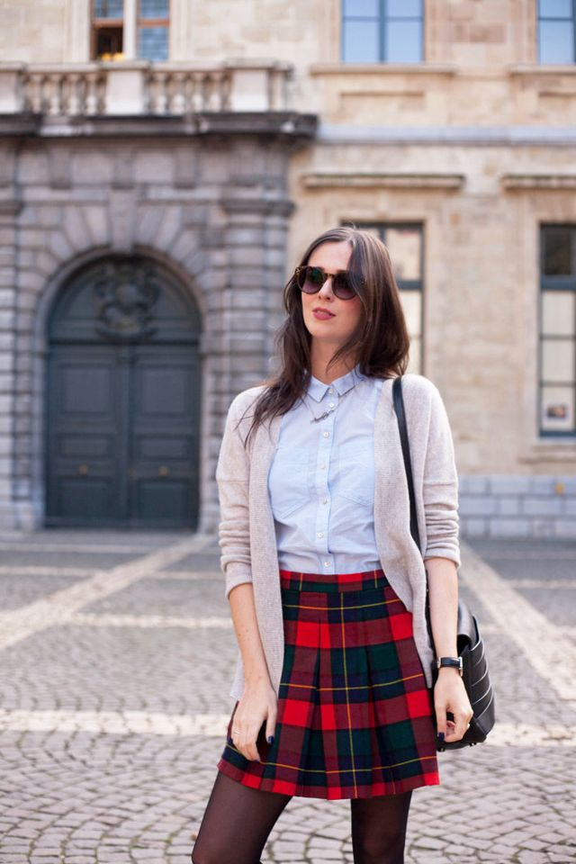 75d30f01f1 Outfit: plaid mini skirt, patent brogues | The Styling Dutchman ...