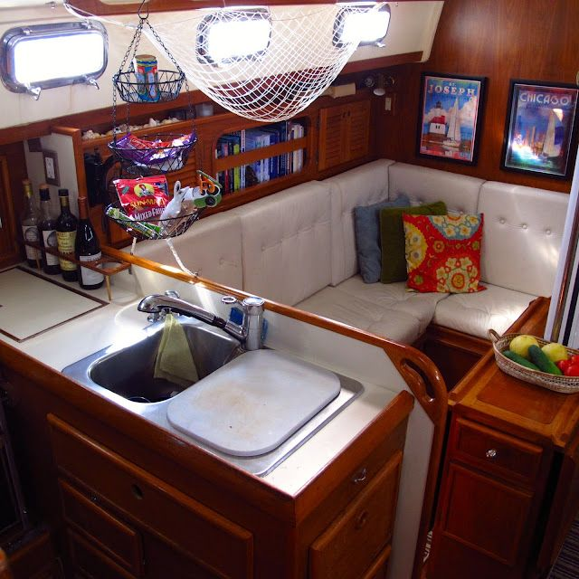 Making a boat a home the art of decorating a boat for Boat kitchen cabinets