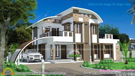 House curved roof style kerala home design bloglovin for Curved roof house designs