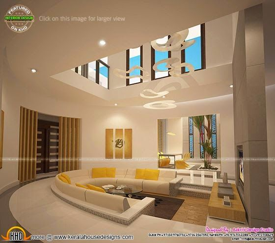 Awesome Interiors Of Living, Kitchen And Bathroom