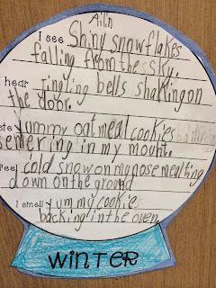 freebie 5 senses poem snow globe template literacy spark bloglovin