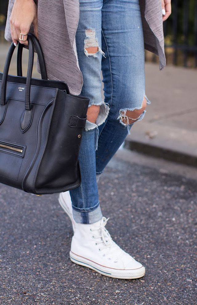 20b265f82df8b5 Black and White Stripe Tank   AStars Cardigan (old in love with this)   AG  Maternity Jeans (same non maternity here)   White Converse   Celine Bag  (similar ...