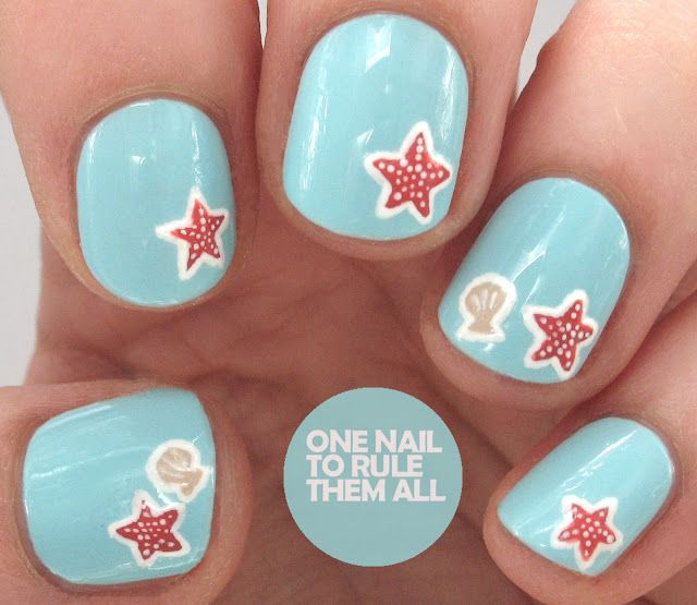 Today's tutorial is for these cute starfish nails, they're much simpler  than I'd usually go for but I ended up really liking them. - Tutorial Tuesday: Starfish Nail Art For Barry M One Nail To Rule
