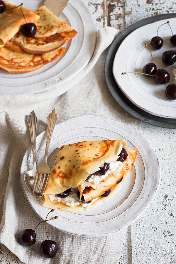 Allerköstlichste Kirschpfannkuchen mit Cottage Cheese. Mit denen ist ...