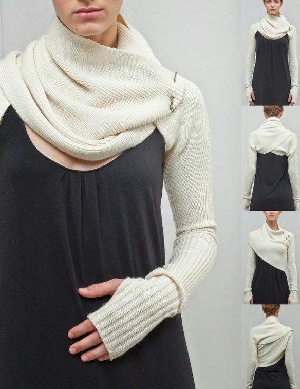 DIY: bufanda con mangas o sleeve shrug. Patrón y tutorial | contra ...