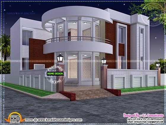 Modern House Plan With Round Design Element Kerala Home