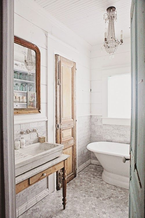 French Inspired Bathroom Remodel Carrera Marble Subway