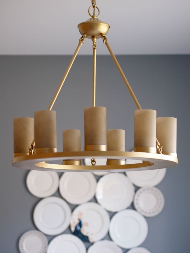 How to spray paint a light fixture dining room reveal for How to spray paint a room