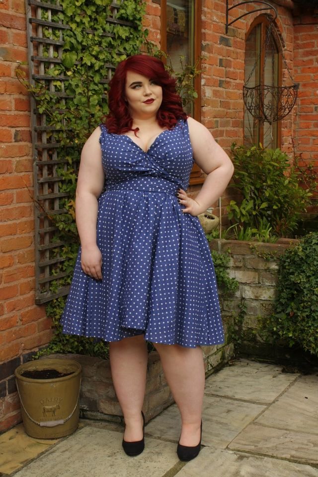 624d15178b69 BBW Couture Blue Polka Dot 1950s Vintage Party Dress | She Might Be ...