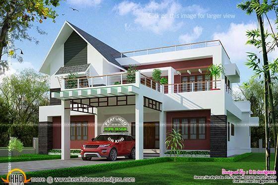 Modern Mix Sloping Roof Elevation Kerala Home Design