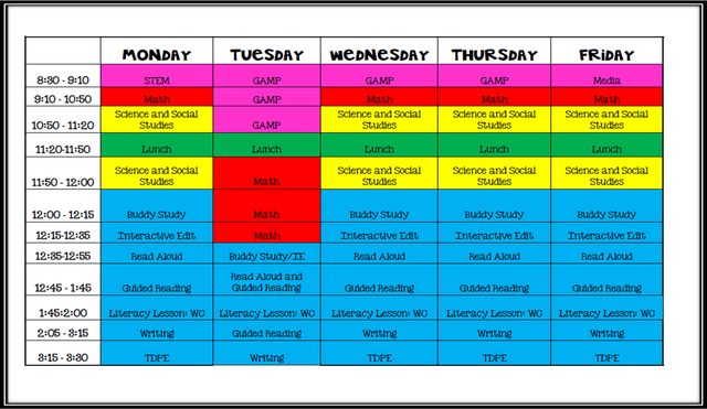 Take a Peek at My 5th Grade Self Contained Schedule | Teaching To ...