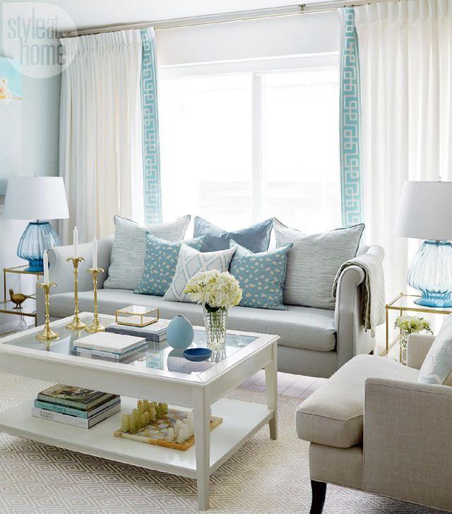 cores na decoração: sala em tons de azul claro