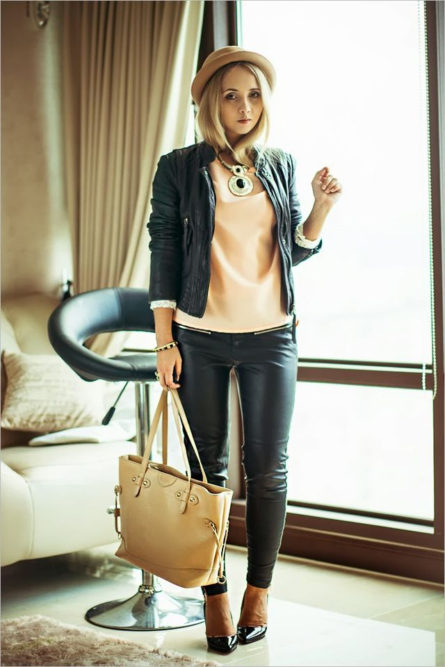 b7c28e9662 Awwdore top / Persunmall bag (similar) / Armani Exchange leather jacket /  Choies hat / Miss Nabi shoes / Oasap necklace / Forever 21 ring