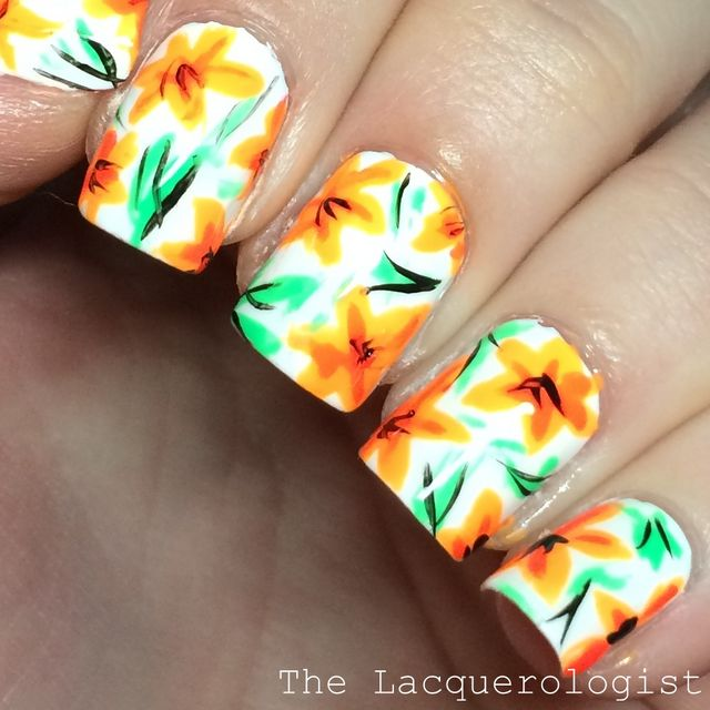 The digit al dozen does childhood 3 tiger lilly memories i just love how this turned outwhite baseabstract florall over patternl of my favorite nail art things in one manicure 3 prinsesfo Gallery
