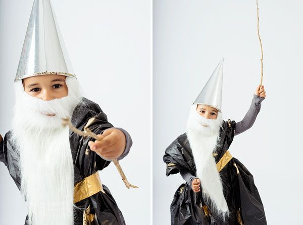 materials metallic cone hat we found ours at a halloween store but you could also make one with metallic paper long white beard
