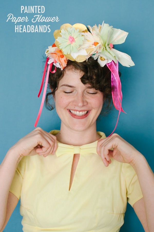 Painted paper flower headbands diy oh happy day bloglovin we attached flowers in different sizes and added a few hanging ribbons to make them more interesting im in love with the final product mightylinksfo