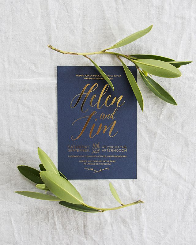 Elegant Gold Foil and Navy Wedding Invitations | Oh So Beautiful ...
