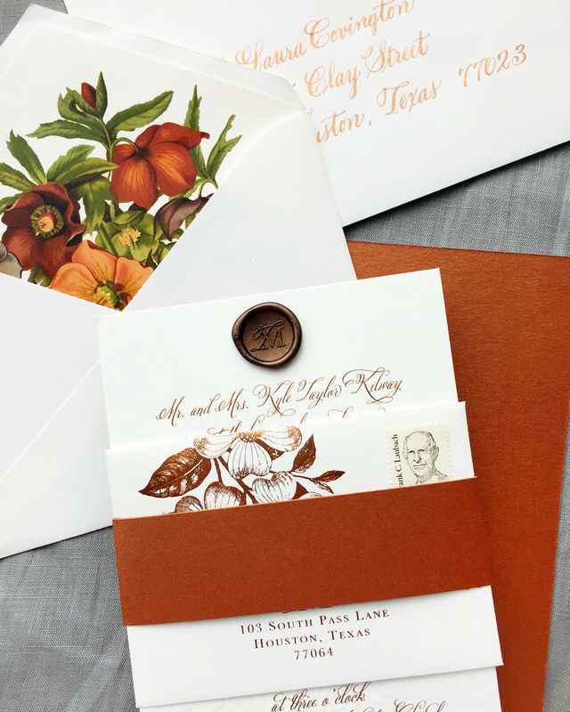 Autumn Floral Copper Foil Wedding Invitations | Oh So Beautiful ...