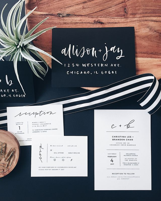 Minimalist Black and White Hand Lettered Wedding Invitations | Oh So ...