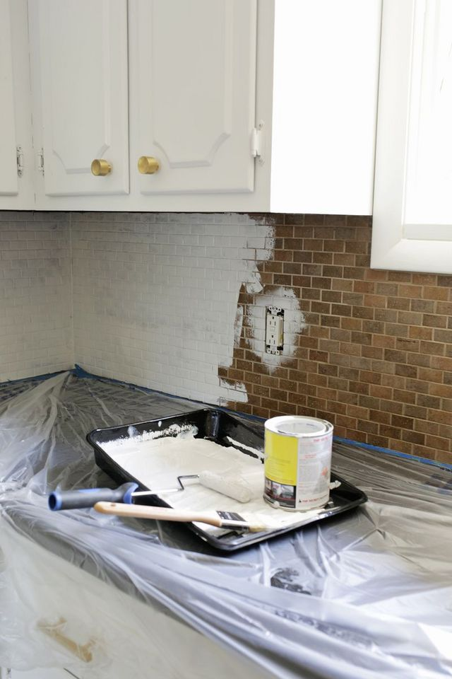 How to paint a tile backplash a beautiful mess bloglovin for Back painted glass tile