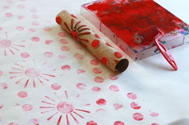 handmade wrapping paper Try making beautiful handmade wrapping paper with just a rolling pin and foam stickers or even use a cardboard tube a fun and easy diy project for kids.