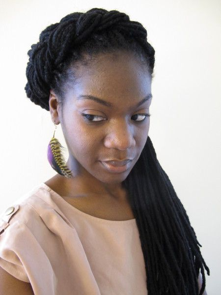 6 braid and twist extension styles to try this summer black girl utilizes acrylic knitting yarn wrapped around a braid or twist or braided twisted in with natural hair to extend length and produces a matte or dull pmusecretfo Image collections
