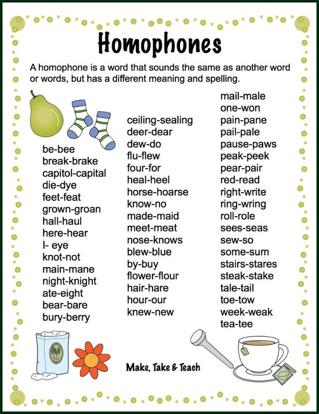 Teaching Homophones Make Take Teach – Another Word for to Do List