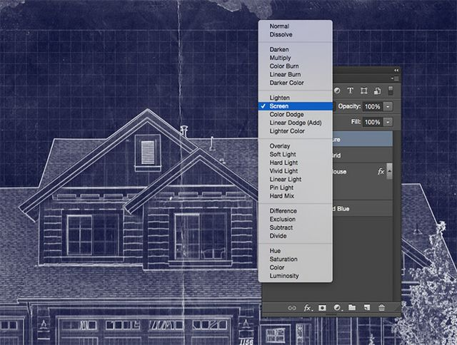 How to create a blueprint effect in adobe photoshop blog change the blending mode to screen to allow the grungy paper texture to interact with the blue background to enhance the realism of the blueprint effect malvernweather Image collections