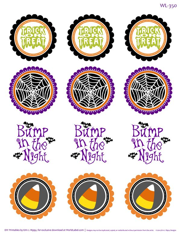 Round Halloween Stickers WL-350