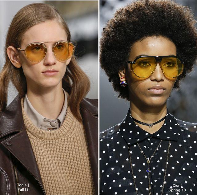 Nas passarelas, as marcas trouxeram óculos com as mais diversas  combinações. Tanto na Tod s quanto na Dior, apostaram nas washed lens na  cor amarela, ... a192989e1f