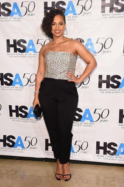 b4642bd7cd Splurge  Alicia Keys s Harlem School of the Arts 50th Anniversary Kickoff  Alice + Olivia Jeri Beaded Strapless Jumpsuit