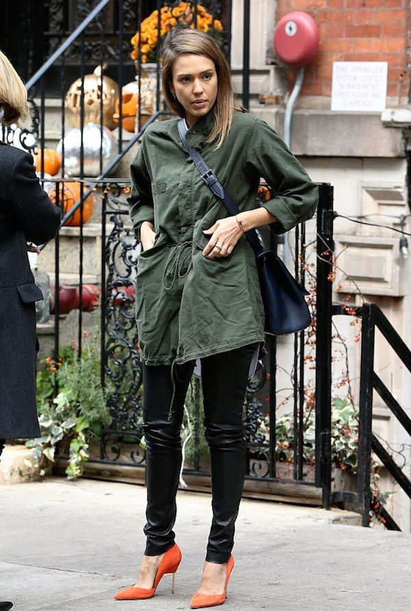 25849dc3f5821f Look For Less  Jessica Alba s New York City The Great Fishtail Military  Drawstring Waist Parka