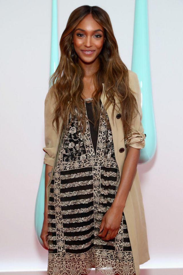9958188a0838 Jourdan Dunn layered a khaki jacket over a lace frock. Olivia Palermo ...