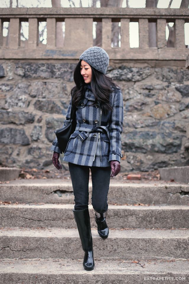661372329f8 Winter blues: Knit cap + wool plaid | Extra Petite | Bloglovin'