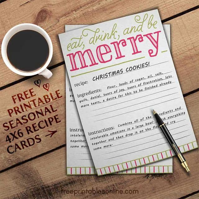 eat drink and be merry holiday recipe card template free