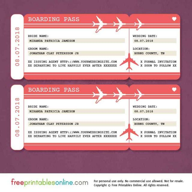 Red boarding pass save the date template free printables online download save the date boarding pass template pronofoot35fo Images
