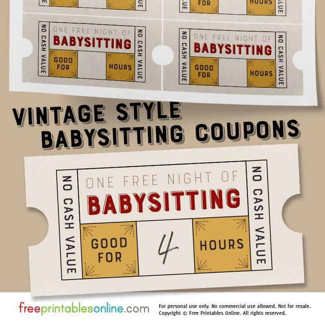 vintage style free babysitting coupon template free printables