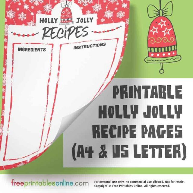 Holly Jolly Printable Christmas Recipe Pages (A4 and US Letter