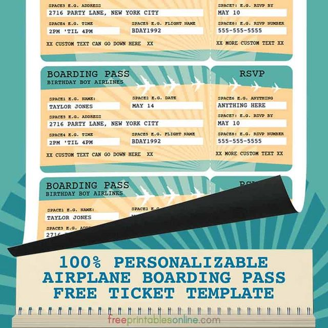 Printable Airline Boarding Pass Template | Free Printables Online ...