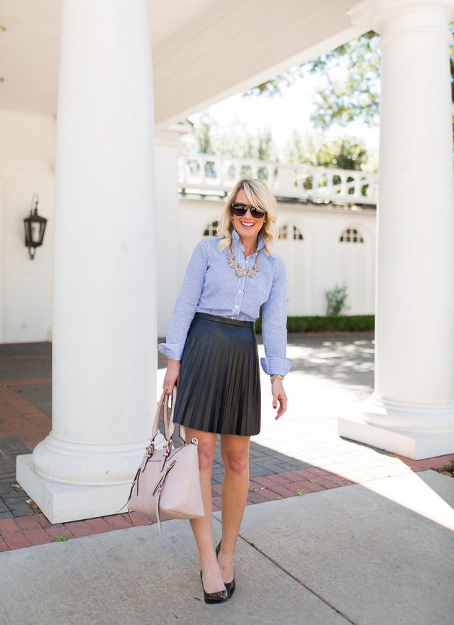 d7da9443b9822 If you missed Day 1, check out my navy and white combo here. Today we're  switching to a work ready style, with proper pleats and preppy stripes.
