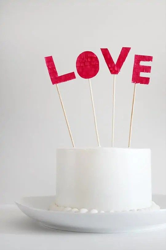DIY Fringed Love Cake Topper