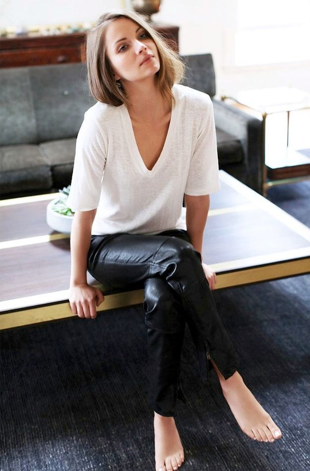 pair a white tee and leather pants for a timeless look