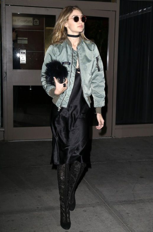 9a84225d4 Steal Gigi Hadid's Sexy-Meets-Cool Bomber Jacket Look | Le Fashion ...