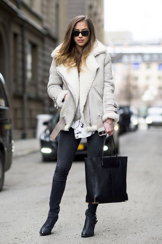 Street Style How To Style A Shearling Jacket Le Fashion