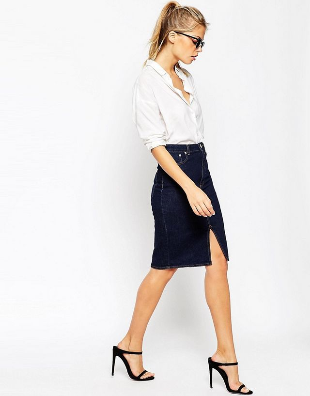 3cc6b5cc55 Dark Wash Denim Demi Pencil Skirt £35 This for me is most like the fabulous  pic from yesterday.