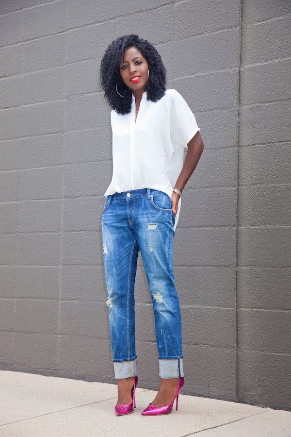1320631af14 Tunic (old): Similar here (in 4 colors) or here (in 15 colors) | Boyfriend  Jeans: Similar here, or here (on sale) | Shoes (Jimmy Choo-old): Similar  here, ...
