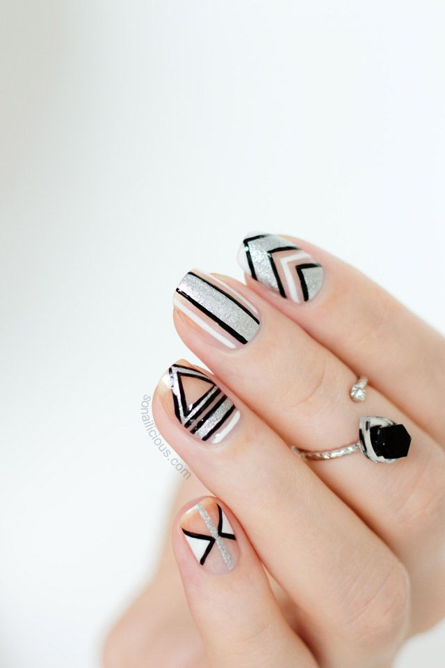 Negative Space New Year\'s Party Nails – 2014 Version | SoNailicious ...