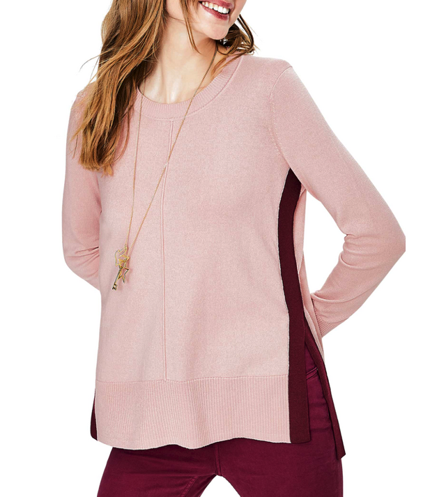 I love the contrasting side stripe and the split hem. The mix of burgundy and mauve is also fantastic. Their contrasting v-neck sweater in ivory ...