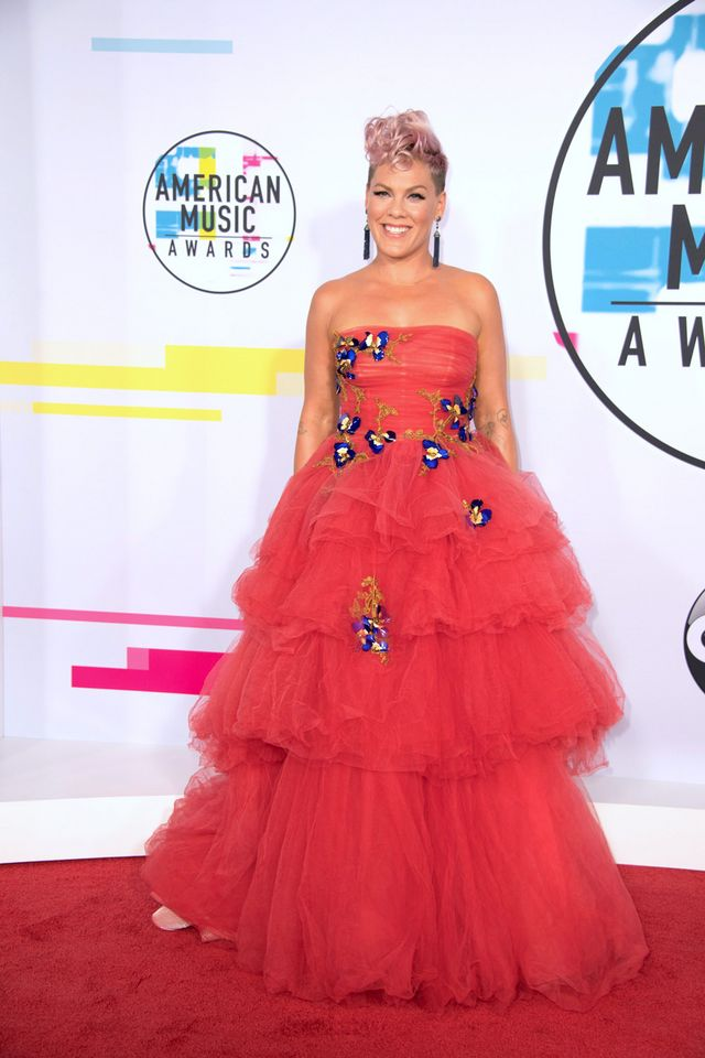 Pink Goes Pure Disney Princess in Monique Lhuillier at the at the American  Music Awards f8d9ea31d
