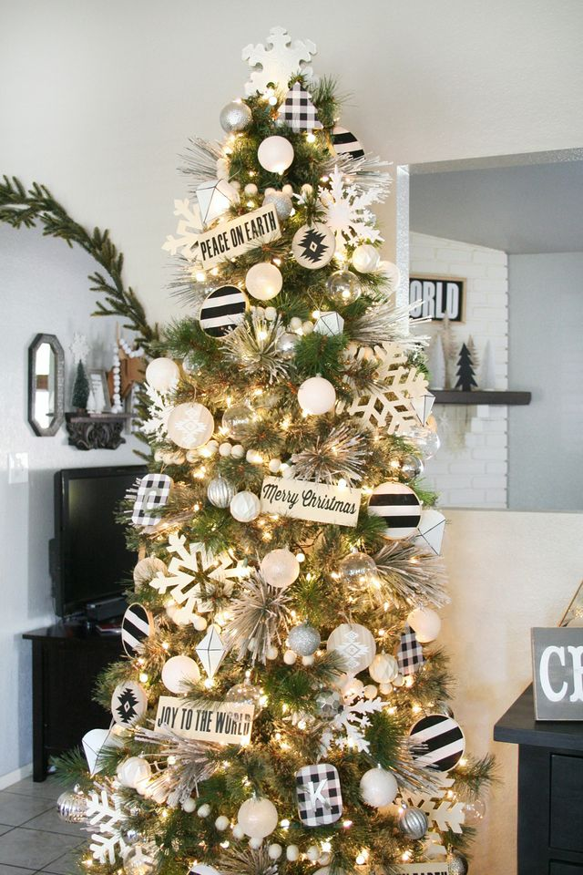 Black Amp White Christmas Tree Decor The Crafted Sparrow